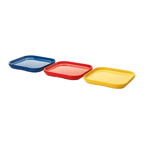 (12) Pack Solfint Plates (4) Red, (4) Yellow , & (4) Blue: Hard Plastic ~ Ikea