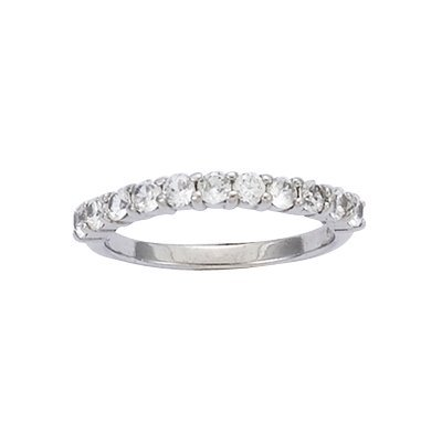 Sterling Silver Clear Cubic Zirconia 3 mm Half Eternity Wedding Band Ring - Size 10