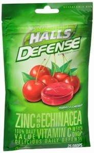 Halls Cough Drops Defense Vitamin C Echinaca & Zinc Cherry 25 Ct