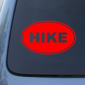 HIKE EURO OVAL - Hiking - Vinyl Car Decal Sticker #1715 | Vinyl Color: Red