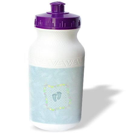 Wb_192618_1 Beverly Turner Baby Stuff Design - Little Blue Footprints On Hearts, Flags Tied Yarn Bow, More Footprints - Water Bottles front-279627