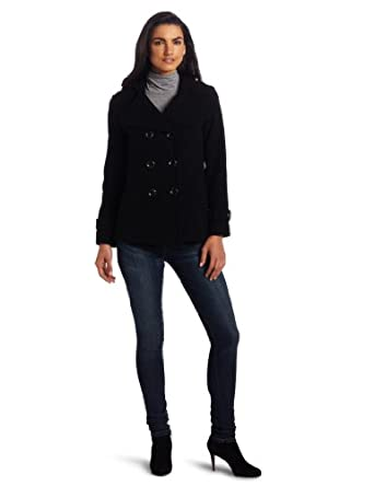 Kenneth Cole New York Reaction Women's Double Breasted Hooded Pea Coat, Black, 4