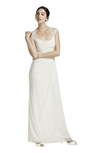 Lace Cap Sleeve Long Matte Mesh Wedding Dress Style XS3450, Ivory, 2