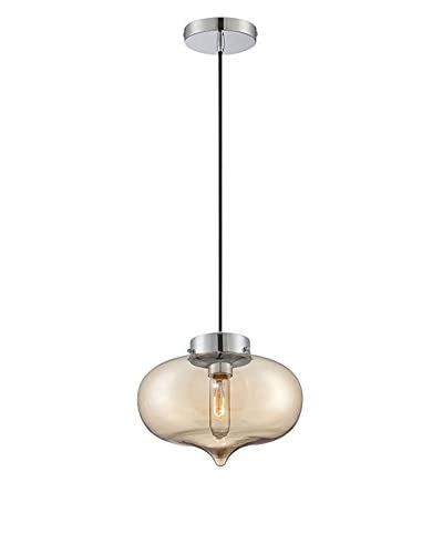 Lite Source Jazzmin Pendant, Chrome/Light Amber