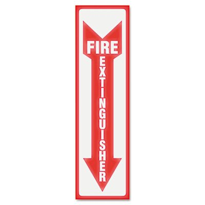 U.S. Stamp & Sign 4793 Glow In The Dark Sign, 4 X 13, Red Glow, Fire Extinguisher