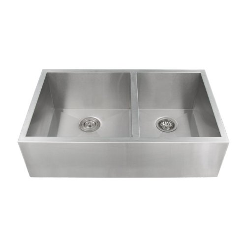 Ticor Stainless Steel 16 Gauge Apron Undermount Kitchen Sink Double Bowl Curved Front