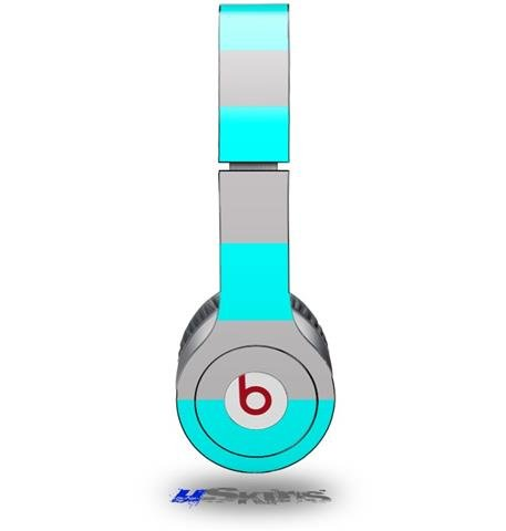Psycho Stripes Neon Teal And Gray Decal Style Skin (Fits Beats Solo Hd Headphones - Headphones Not Included)