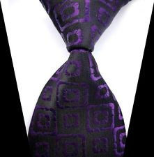 Jacob alex #38587 Classic Necktie Black & Purple Plaid WOVEN JACQUARD Silk Men's Suits Tie