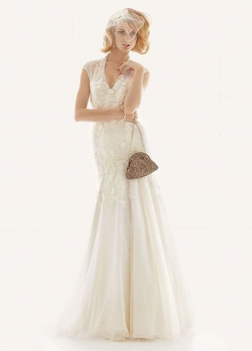 Cap Sleeve Fit-and-Flare Lace Wedding Dress Ivory