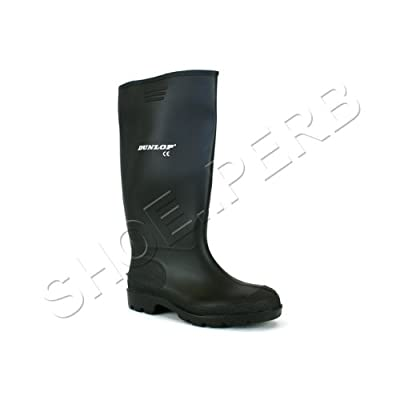 Mens black rubber wellington wellies boots dunlop
