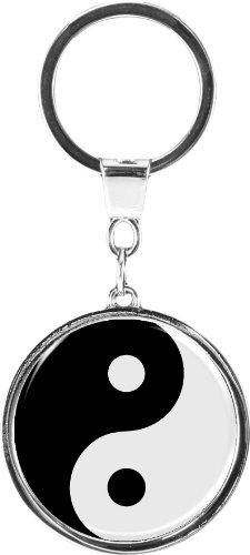 "Portachiavi di qualità in metallo in forma rotonda ""Yin yang"""