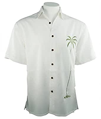 Bamboo cay palm island tropical style embroidered button for Bamboo button down shirts