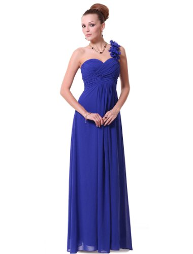 Ever Pretty Sapphire Blue Flowers One Shoulder Chiffon Maxi Evening Dress 09768, HE09768SB18, Blue, US16