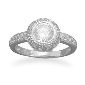 Sterling Silver Rhodium Plated Ring with 6mm Round CZ and Pave Sides / Size 6