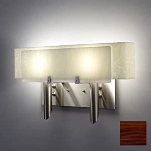 Dessy2 2 Light Wall Sconce Front Shade Color: Rootbeer, Back Shade Color: Curved Snow