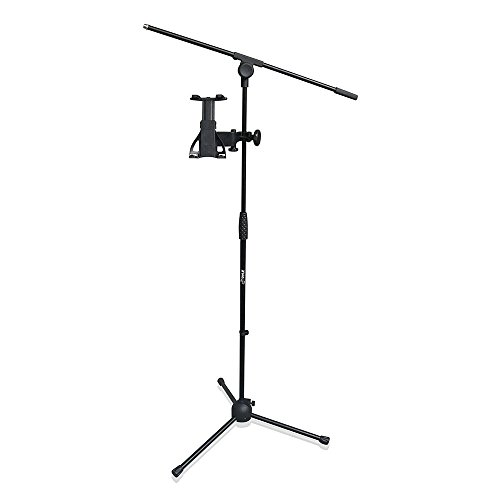 Pyle Pmkspad5 2-In-1 Microphone And Ipad Tablet Stand With Adjustable Height For All Tablets 4.7 To 8.7 Inches Tall