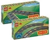 Lego Duplo Ville Eisenbahn 2734 6 gerade Schienen und 2735 6 gebogene Schienen und Lego Duplo Minibuch