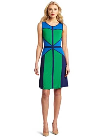BCBGMAXAZRIA Women's Colette Color Blocked Jersey Dress With Binding, Light Kelly Green Combo, X-Small