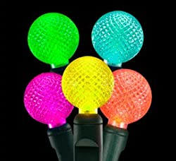 Set of 35 LED Multi-Color G12 Berry Fashion Glow Christmas Lights - Green Wire