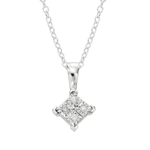 DiAura Sterling Silver Diamond-Accent Solitaire Pendant Necklace