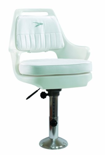 "Wise 8WD015-6-710 Standard Pilot Chair with Cushions, 12-18"" Adjustable Height Pedestal and Seat Slide, White"