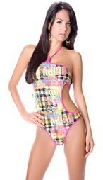 Screen print monokini teddy with contrast binding on all edges