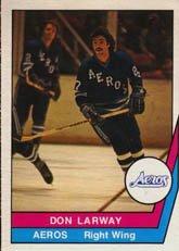 1977 O-Pee-Chee WHA (Hockey) Card# 48 don larway of the Houston Aeros Ex Condition