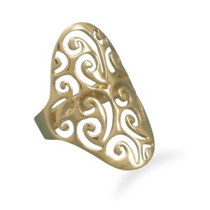 Sterling Silver 14 Karat Gold Plated Filigree Design Ring / Size 8