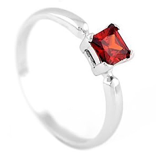 Sterling Silver Princess Cut January Garnet Birthstone