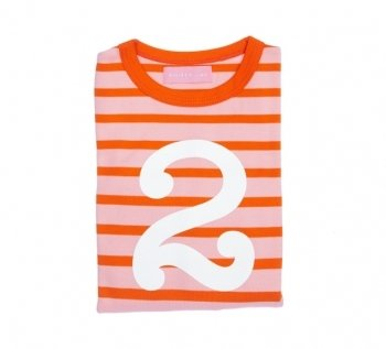 Bob and Blossom Number 2 Pink & Orange Striped T Shirt 2-3 Years