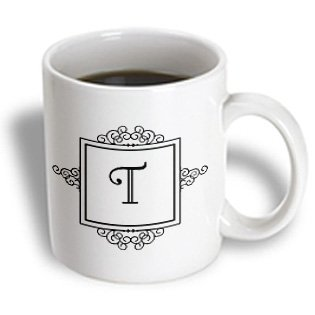 3Drose Mug_154343_1 Initial Letter T Personal Monogrammed Fancy Black And White Typography Elegant Stylish Personalized Ceramic Mug, 11-Ounce