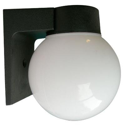 Sunlite ODI1000 6-Inch Incandescent Wall Mount Globe Outdoor Fixture, Black Finish with White Glass