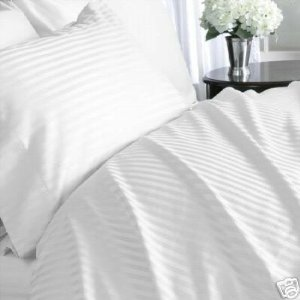 Wrinkle-Free Hotel Collection Damask Stripes White King size Microfiber sheet set, deep pocket, 95gsm ,100% Microfiber.