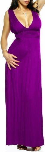 Maxi Boho Purple V Neck Hollywood Celebrity Long Summer Dress, Small