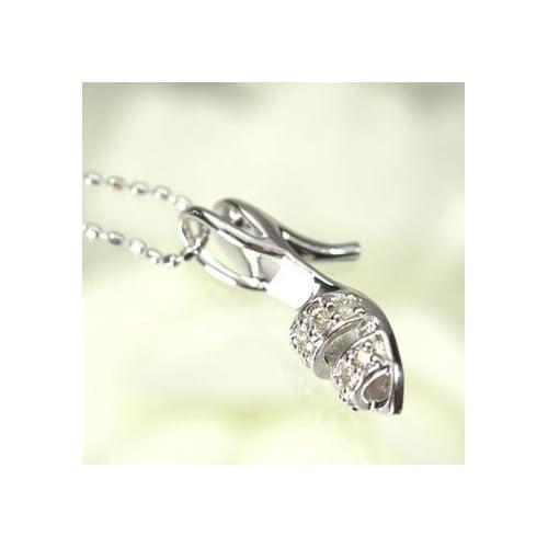 [キュートジュエリー]Cute jewerly ダイヤモンド ペンダント ネックレス K18WG ダイヤモンド0.08ct ハイヒールペンダント