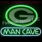 NEW GREEN BAY PACKERS MAN CAVE REAL GLASS NEON LIGHT BEER BAR PUB SIGN19X15