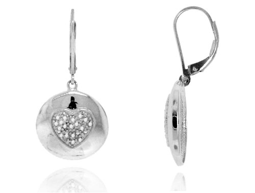 Sterling Silver 925 Micro-pave Genuine Diamond Accents 0.10cts (Color H-I, Clarity I2-I3) Heart Dangle Earrings