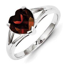 Genuine IceCarats Designer Jewelry Gift Sterling Silver Rhodium Garnet Ring Size 7.00