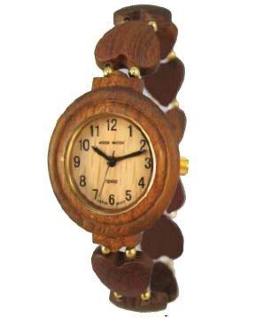 da9870c4d79 Tense Wood Watch Ladies Solid Wood Heart Band Stretch Hypo Allergenic Watch  L7007S
