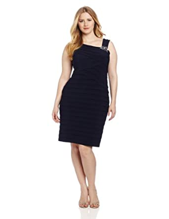 Jessica Howard Women's Plus-Size Beaded Asymetrical Tuck Plus Dress