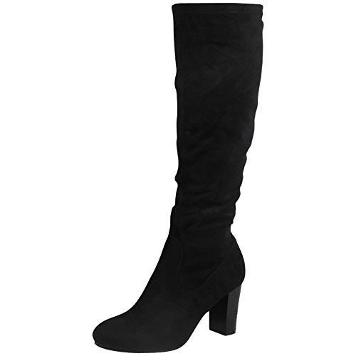 womens-ladies-mid-calf-boots-fold-over-long-stretch-high-cuban-heel-shoes-size-6