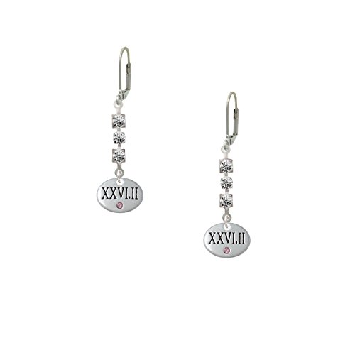 Marathon With Pink Crystal Roman Numeral Madison Leverback Earrings