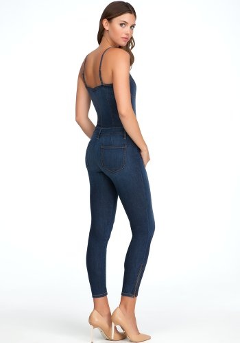 bebe Denim Bustier Jumpsuit