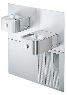 Elkay ERFPM28K Refrigerated Drinking Fountain, Bi-Level, Soft Sides, 8.0 GPH Water Cooler, ADA, Includes Mounting Frame