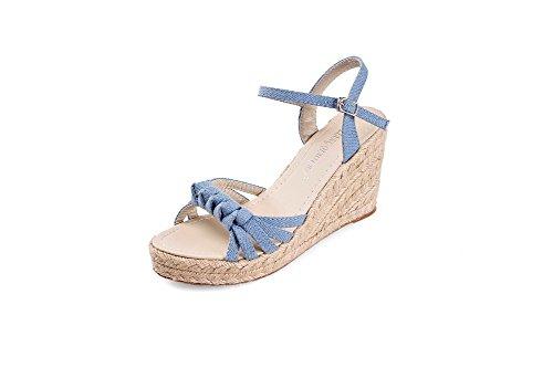 Vouge009 Womens Open Toe High Heel Wedge Platform Soft Material Denim Solid Sandals, Lightblue, 38 front-270055