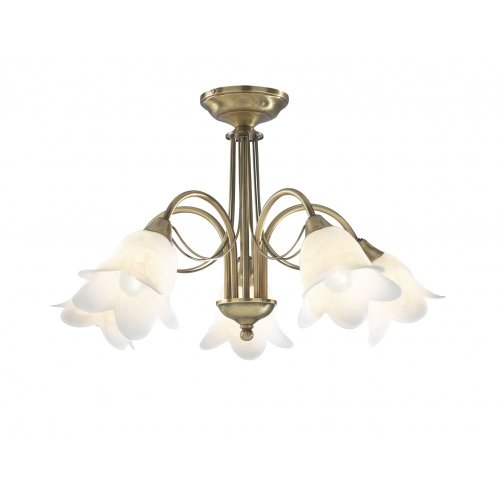Lyco Ceiling Light Doublet, Antique Brass, Alabaster, 5 Arm, Ceiling Light Max 5 x 40 watt