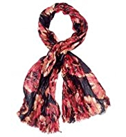 Per Una Painterly Rose Print Scarf