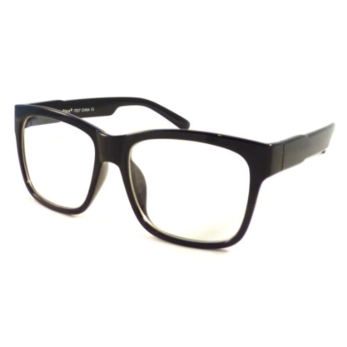 Vintage Retro Wayfarer Square Oversized Frame Clear Lens Eye Glasses Black
