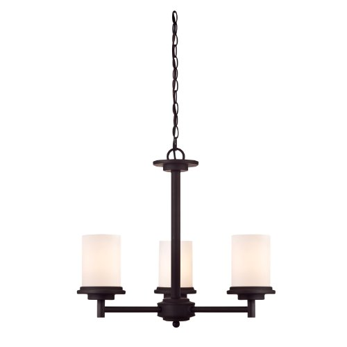 Westinghouse 6225200 Gatehouse Tower Three-Light Interior Chandelier, Weathered Bronze Finish With Frosted Glass