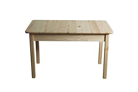 Tisch 120x60 cm Kiefer massiv, Ausziehbar auf 150, Farbe: Natur